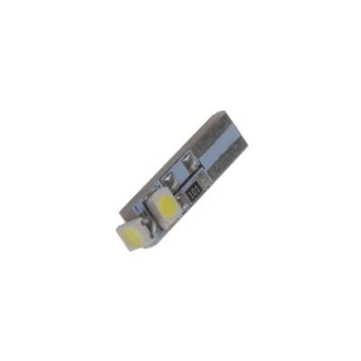 LED žárovka 12V s paticí T5 bílá, 3LED/SMD