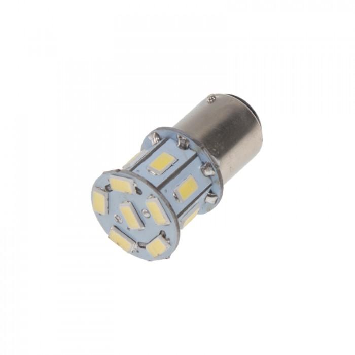 LED žárovka 12V s paticí BAZ 15d (dvouvlákno) bílá, 13LED/3SMD