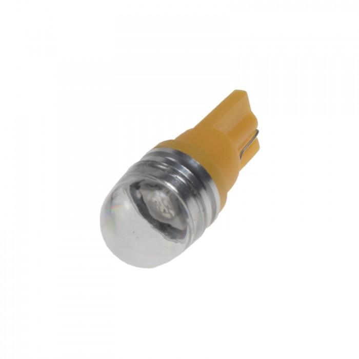 LED žárovka 12V T10 oranžová, 1LED/3SMD s čočkou