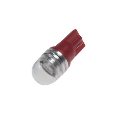 LED žárovka 12V T10 červená, 1LED/3SMD s čočkou