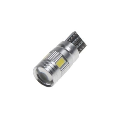 LED žárovka 12V T10 bílá, 6LED/5630SMD s čočkou