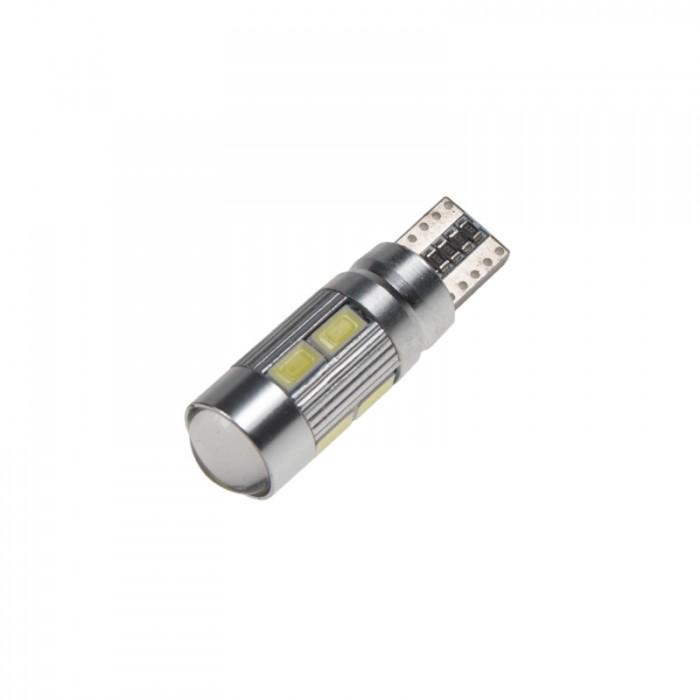 LED žárovka 12V T10 bílá, 10LED/5630SMD s čočkou