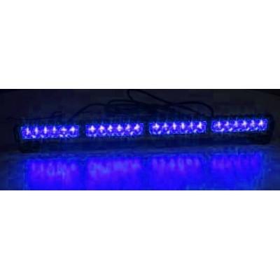LED světelná alej, 24x 1W LED, modrá 645mm, ECE R10