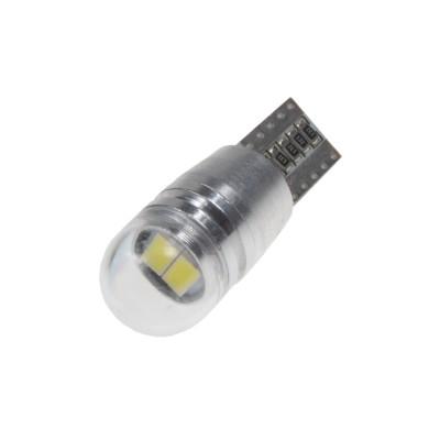 LED T10 bílá, 12V, 2LED/5730SMD s čočkou