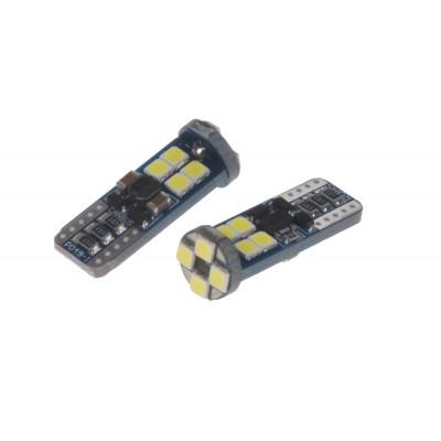 LED T10 bílá, 12-24V, 12LED/3030SMD