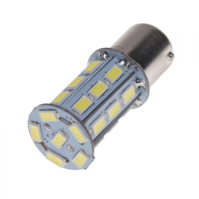 LED žárovka 12V s paticí BA15s bílá, 27LED/3SMD