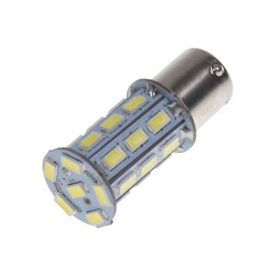 LED žárovka 12V s paticí BAU 15s bílá, 27LED/3SMD