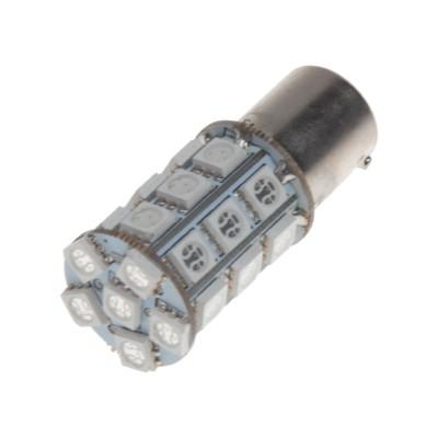 LED žárovka 12V s paticí BAU 15s oranžová, 27LED/3SMD