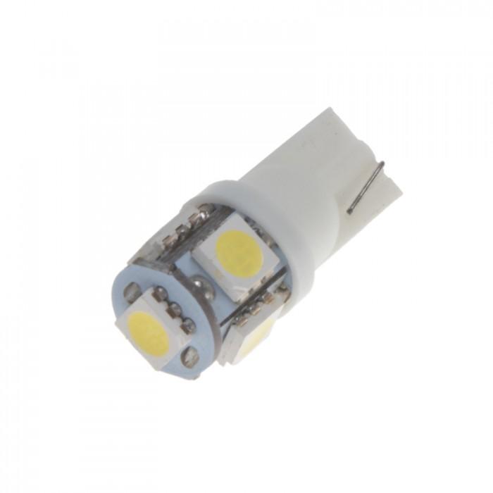 LED žárovka 12V s paticí T10 bílá, 5LED/3SMD