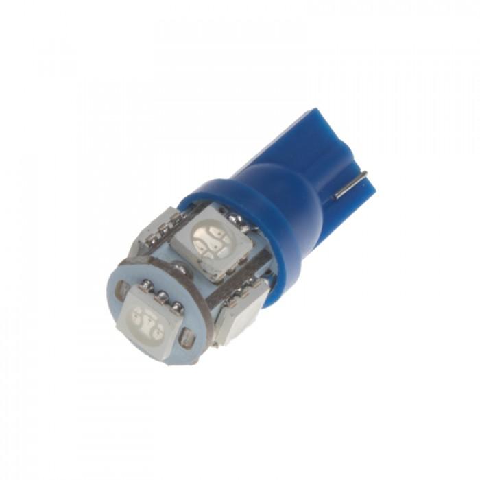 LED žárovka 12V s paticí T10 modrá, 5LED/3SMD