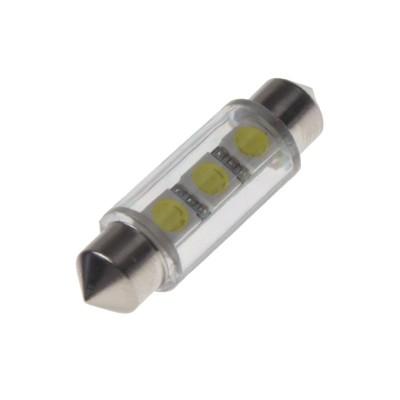 LED žárovka 12V s paticí sufit(39mm) bílá, 3LED/3SMD
