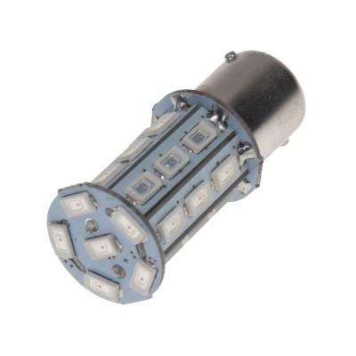 LED žárovka 12V s paticí BA15s červená, 27LED/3SMD