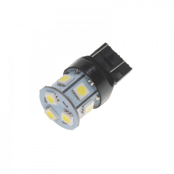 LED žárovka 12V s paticí T20 (7443) bílá, 5LED/3SMD