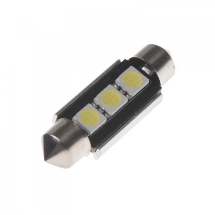 LED žárovka 12V s paticí sufit (39mm) bílá, 3LED/3SMD