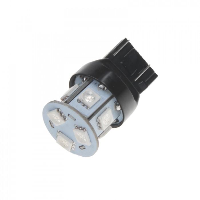 LED žárovka 12V s paticí T20 (7443) červená, 5LED/3SMD
