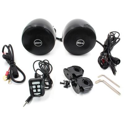 Reproduktory na motocykl, skútr, ATV s MP3, USB, AUX, BLUETOOTH, barva černá