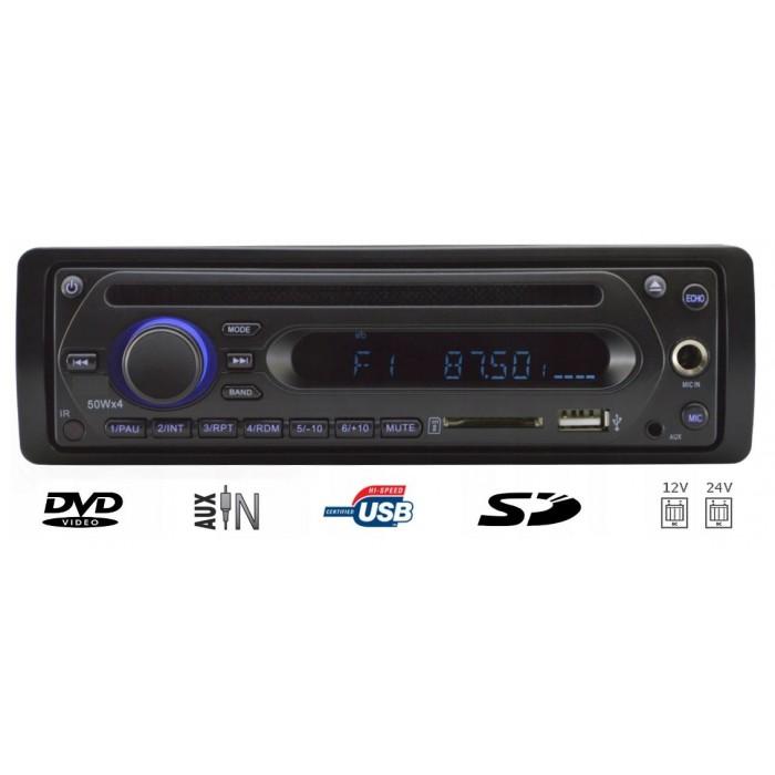 1DIN rádio pro autobusy s DVD/CD, 2x USB, SD, Mikrofon pro průvodce