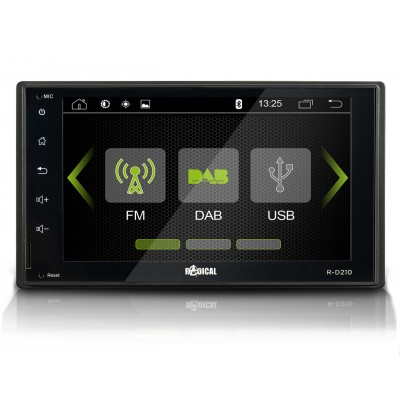RADICAL R-D210 2-DIN autorádio, DAB+, FM, bluetooth, USB, SD