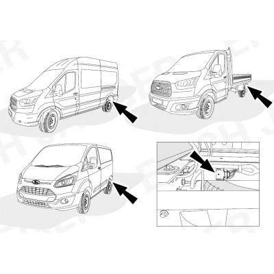 Typová elektropřípojka Ford Transit/Tourneo skříň 2016/06-, 13pin, Erich Jaeger
