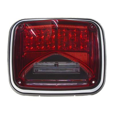 Výstražné LED světlo obdélníkové s přísvitem, 12/24V, červené, R65