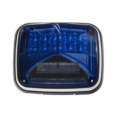 Výstražné LED světlo obdélníkové s přísvitem, 12/24V, modré, R65