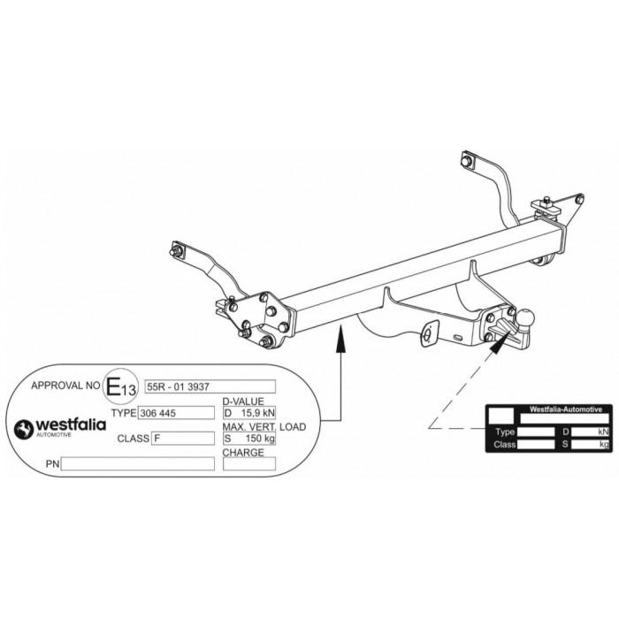 Tažné zařízení Citroen Jumper valník 2006-, příruba 4š, Westfalia W306492