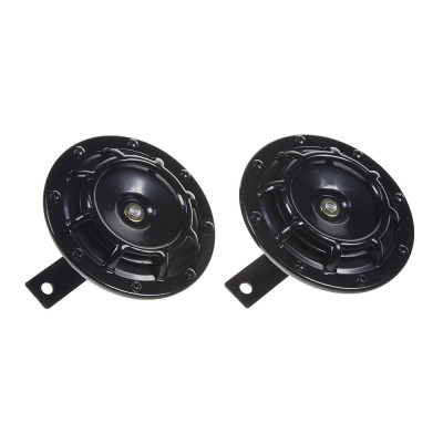 Diskový klakson (vysoký a nízký tón), černý, 120mm, 12V