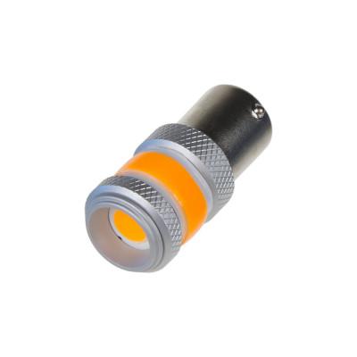 LED BA15s oranžová, COB 360⁰, 9-60V, 12W