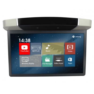 """Stropní LCD monitor 15,6"""" šedý s OS. Android HDMI / USB, dálkové ovládání se snímačem pohybu"""