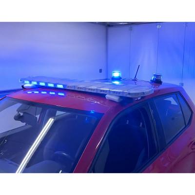 LED rampa 1200mm, modrá/červená + 2x LED maják