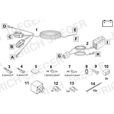 Doplňková sada pro spínané plus (+15) pro 13-ti pinové elektroinstalace 721074